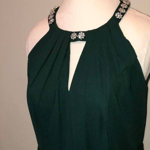 Flowy green halter evening gown